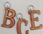 Personalised INITIAL Resin Key Chain, Bag Tag, Key Fob, Key Ring, Charm, Copper Glitter.