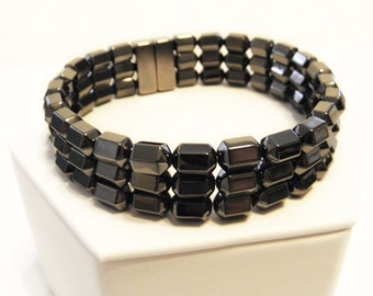 Magnetic hematite bracelet - triple stranded - beveled hexagon - custom sized