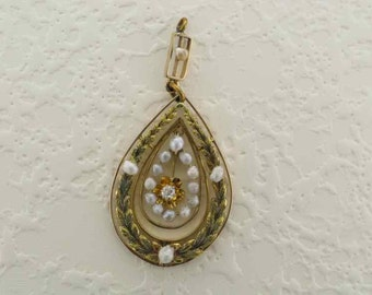 14 Karat Yellow and Green Gold Diamond and Pearl Pendant
