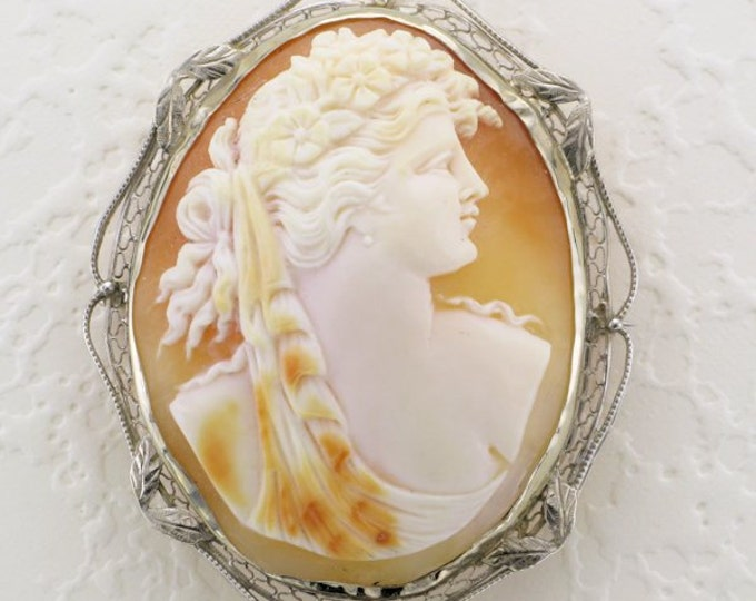Filigree Shell Cameo Pin/Pendant; Cameo Pin; Cameo Pendant; Cameo Pin with Filigree Frame; Cameo Pendant with Filigree Frame