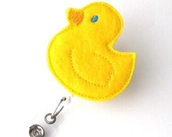 Ducky - Name Badge Holder - Cute Badge Reels - Unique Retractable ID Badge Holder - Felt Badge Reel - RN Badge - BadgeBlooms