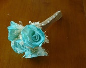 Wedding, Sola wood Bouquet, Teal Aqua Wood Bouquet, Bridal Bouquet, Sola flowers, Bouquet, Handmade