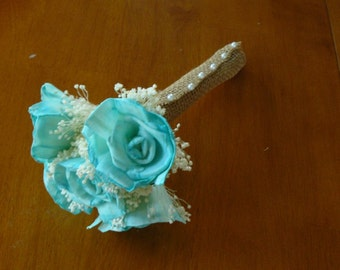 Wedding, Sola wood Bouquet, Teal Aqua Wood Bouquet, Bridal Bouquet, Sola flowers, Bouquet, Handmade