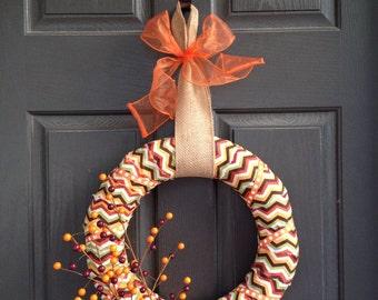 Fall Chevron Berry Twig Wreath Sale