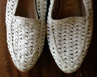Vintage White Woven loafers, Cabin Creek Size 8 1/2M
