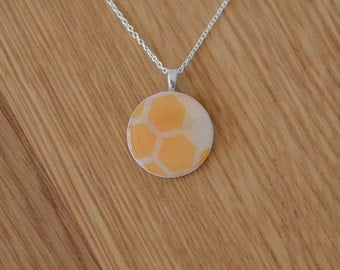 FREE SHIPPING - Circle Necklace Pendant Yellow Honeycomb made from Paper in Australia