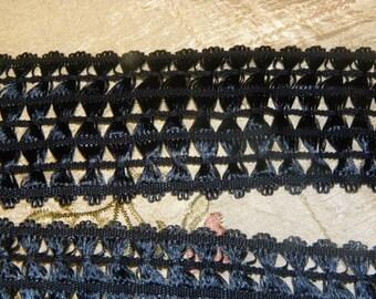 "Beautiful Vintage 3"" Wide Navy Blue Rayon Decorative Lace Trim"