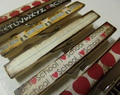 School Decoupage Clothespins Back to school bus apples chalk decorative classroom pins- clothespins set of 10