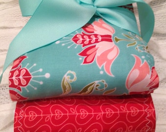 NeW GORGEOUS Teal Turquoise PiNk Red Floral Girly Baby Girl Burp Cloth Set of 3 Boutique Style 6-ply Baby Shower Gift Monogram Riley Blake