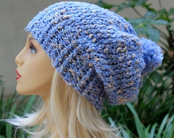 The Silver Lake Slouchy with Medium Pom Pom Hand Knit Light Sky Blue Cream Flecks Acrylic/Polyester/Cotton Slouchy Over Sized Beanie Hat