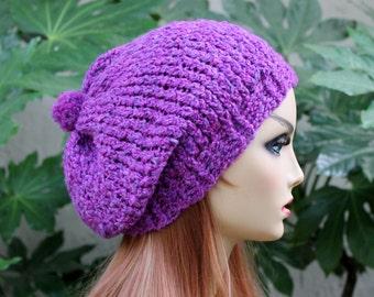 Hand Knit, Plum Purple, Slouchy, Acrylic, Beanie, Hat Small Pom Pom Two Inch Headband Women or Men, Fall, Winter, Back to School