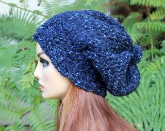 Hand Knit, Wool/Acrylic, Dark Teal with Light Aqua Flecks, Slouchy, Over Sized, Beanie Hat Four-Inch Headband Small Pom Pom Women Men