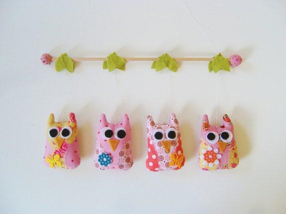 Colorful owl mobile - kids decor, baby mobile, nursery mobile