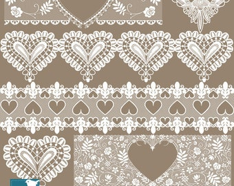 Heart Lace Borders - Digital Clipart / Scrapbooking - card design, invitations, paper crafts, web design - INSTANT DOWNLOAD