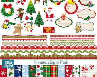 Christmas Digital Clipart and Paper Combo - Scrapbook , card design, invitations, stickers, paper crafts, web design - INSTANT DOWNLOAD