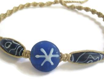 Blue Hemp Necklace, Starburst Blue Beads Choker,  Vintage Glass Beads, Hemp Macrame Adjustable Jewelry, READY To SHIP