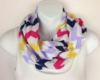 Blue, pink, yellow, purple,  White Chevron Jersey Knit Infinity Scarf