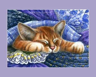 Ginger Cat Print In Blue Fabric by Irina Garmashova