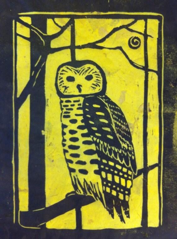 "Autumn Owl linocut print 9"" x 12"""