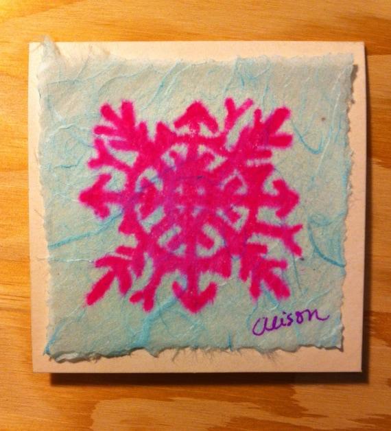Snowflake 3 x 3 linocut notecard