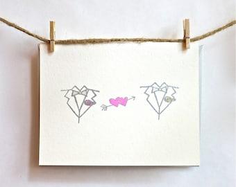 Gay Wedding Card- Love Hearts - Groom & Groom