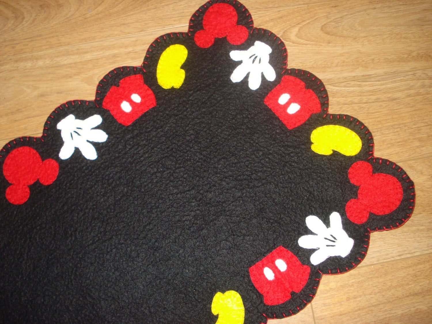 Penny Rug Mickey Mouse Inspired Table Runner 55 Inches Long