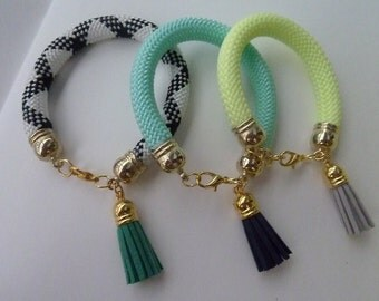 ROPE and suede TASSELS bracelets