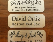 "Engraved Solid Brass Plate Picture Frame Art Label Name Tag 2"" x 3/4"" with Adhesive on Back"