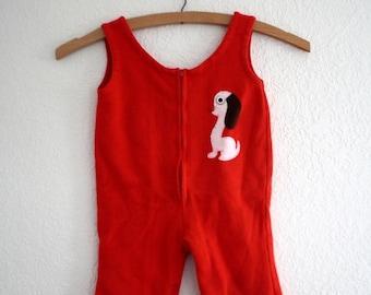 vintage red overalls 12 months
