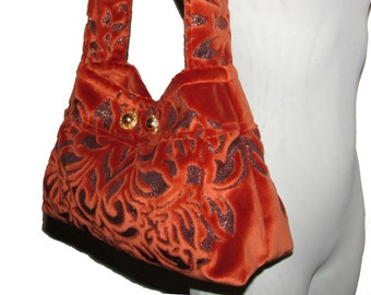 51- orange bag, velvet, handmade