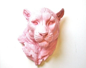 LIGHT PINK Faux Taxidermy Panther Head wall decor wall hanging wall mount: Pimmy the Panther // nursery decor // office // kids room // fake