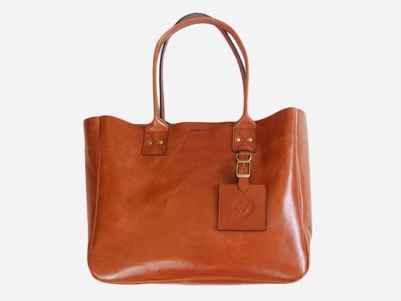 Cognac New York Tote - Handmade leather Tote bag