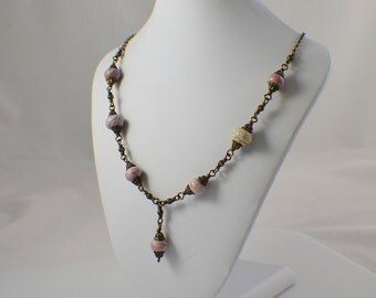 Light pink victorian style necklace magnesite gemstones paired with antique brass filigree beads