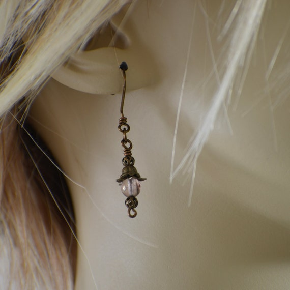 Victorian earrings light pink glass and antique brass on french wires