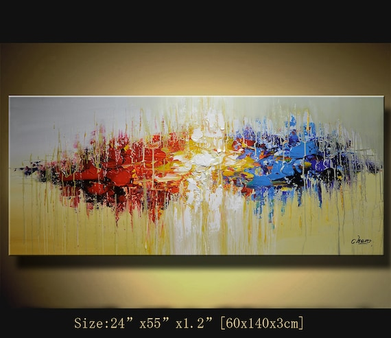 Original acrylic abstract painting abstract paintings modern for How to paint with a palette knife with acrylics