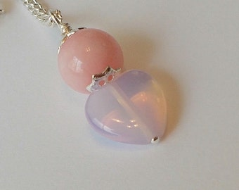 Pink Jade Stone Bead With Pink Opalite Stone Heart Wedding Party Necklace