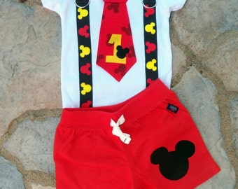 Mickey Mouse Inspired Birthday Tie and Suspender bodysuit with Shorts Baby Boy First Birthday Birthday Party Little Man Tie Outfit