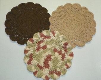 Set of 3 crocheted Washcloths