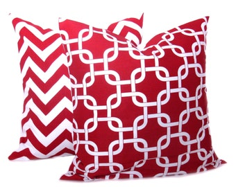 Red Pillow Red Pillow Set Chevron Pillow Covers 18x18 Red White Red Pillow Case Cushion Covers Printed Fabric both sides