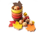 Autumn Toys - Waldorf Sorting Acorns, Bowls, and Leaves - Autumn Colors - Brown, Red, Yellow, Orange - Montessori Sorting and Stacking Toy