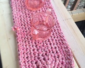Crochet Rag Rug Small Cotton Washable Soft Handmade Table Topper Kitchen Country Primitive Pink Spring Homespun Candle Pad Mat
