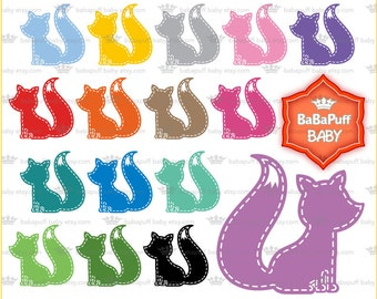 Buy 2 Get 2 Free ---- Digital Baby Fox Clip Art ---- Personal and Small Commercial Use ---- BB 0709