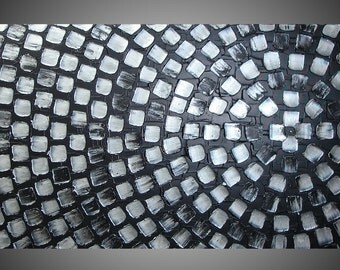 ORIGINAL Abstract Modern Acrylic Painting Art Deco Textured Black Metallic Silver Squares Modern Ready to Hang 48 x 24 Made to Order