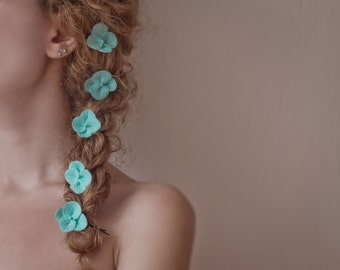 Mint hair clips - turquoise flower bobby pins - hydrangea hair clips - turquoise wedding - bridal hair flowers