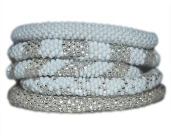Silver, White Beaded Handmade Bracelets Set, Seed Beads,Nepal, BS2