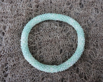 Textured Mint Green Crocheted Beaded Bracelet, Seed Beads,Nepal,TB12