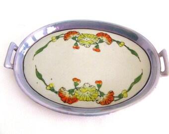 Vintage Hand Painted Serving Platter Lusterware Spring Flowers and Leaves
