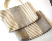 Linen bridal favor tote bags organic linen gift bags in grey ivory lingerie bags set of 2