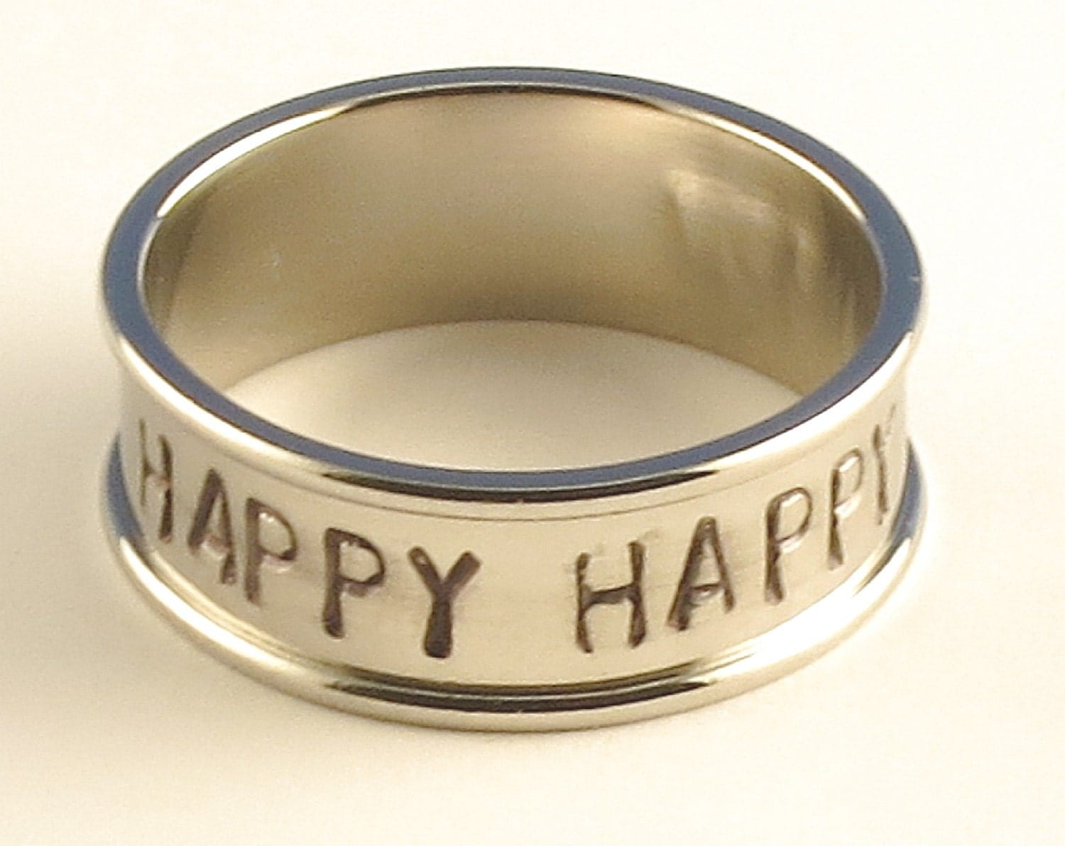 HAPPY HAPPY HAPPY Stainless Steel Channel Band Name Ring 7mm