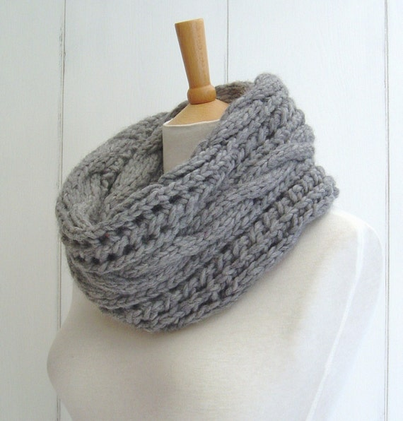 KNITTING PATTERN for Chunky Cable Lace Infinity Scarf Instant Digital Downloa...